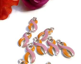 5 Pc Orchid & Orange Awareness Ribbon Enamel Pendant Charms - Eczema Psoriasis Awareness Ribbon Jewelry