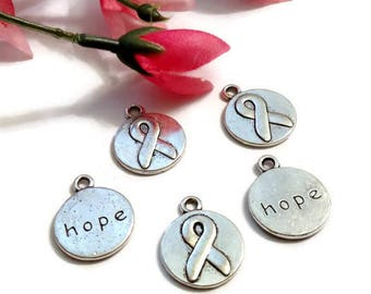 Awareness Ribbon Double Sided Hope Pendant Charms - Cancer Jewelry Inspirational