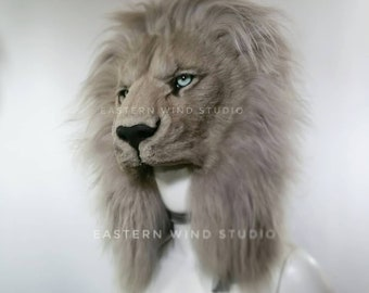 READY TO SHIP Cruelty Free Lion Headdress Taupe/gray (read item details before ordering please!)