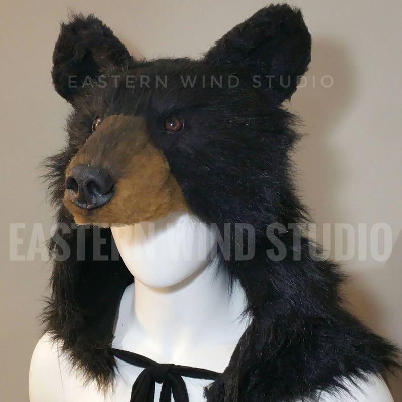 Black Bear Headdress Costume Rug Stole Display Prop Etsy
