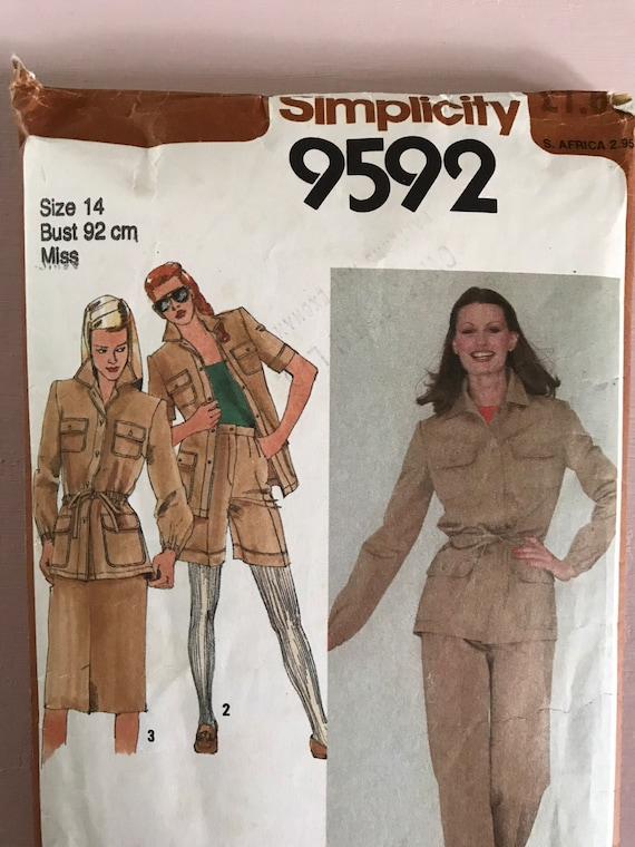 Einfachheit 9592 Vintage retro 1980 Schnittmuster Safari | Etsy