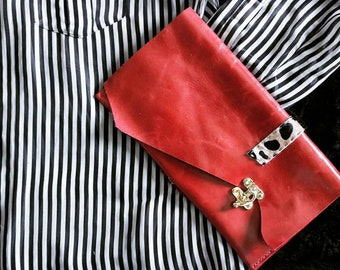 Evening clutch, red clutch, designer clutch, glam clutch, leather clutch purse