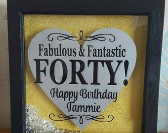 40th Birthday Frame Present Personalised Gift Ladies