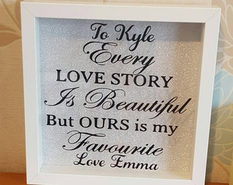Every Love Story Is Beautiful But Ours Is My Favourite, Personalised love story frame, Valentines day gift, birthday gift, anniversary gift