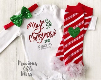 0851a655a20 Baby Girl First Christmas Outfit
