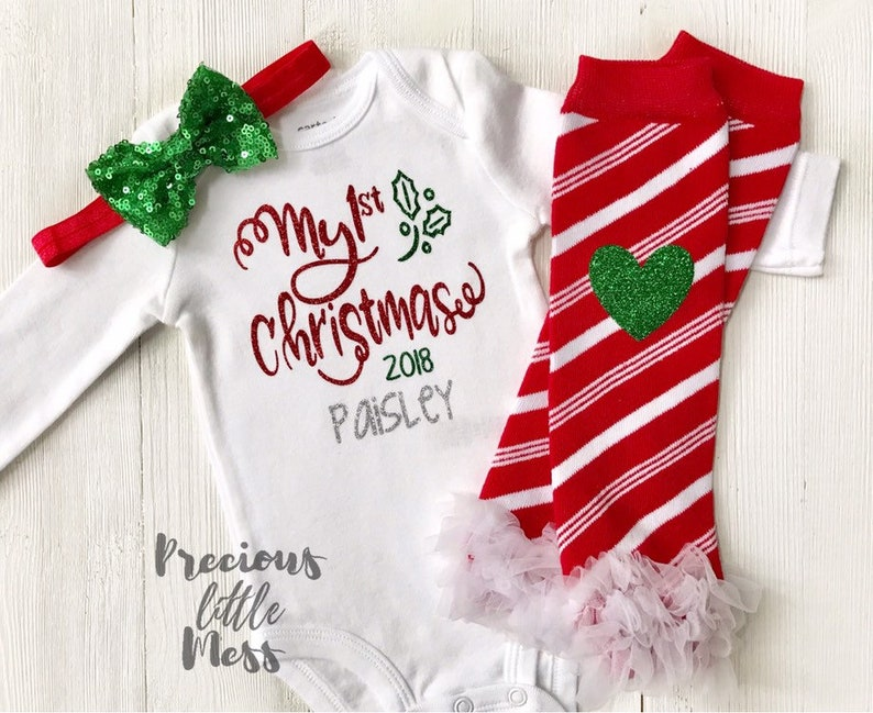 84dd96814 Baby Girl First Christmas Outfit Personalized My First | Etsy