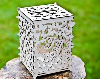 Wedding Cards Box with your Initials,  Wedding box for cards with butterfly design for wedding