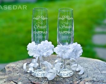 Wedding glasses personalize Engraved wedding glasses Custom champagne flutes Bride and groom toasting glasses Bridal shower gift