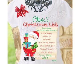 77e2da7cb6b6 Boys Christmas List Shirt Matching Brother Sister Christmas