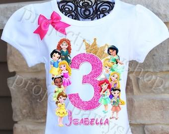 17ea2c5d Disney Princesses Birthday Shirt, Disney Toddler Princess Birthday Shirt, Toddler  Princesses Birthday Shirt, Baby Princesses Birthday Shirt