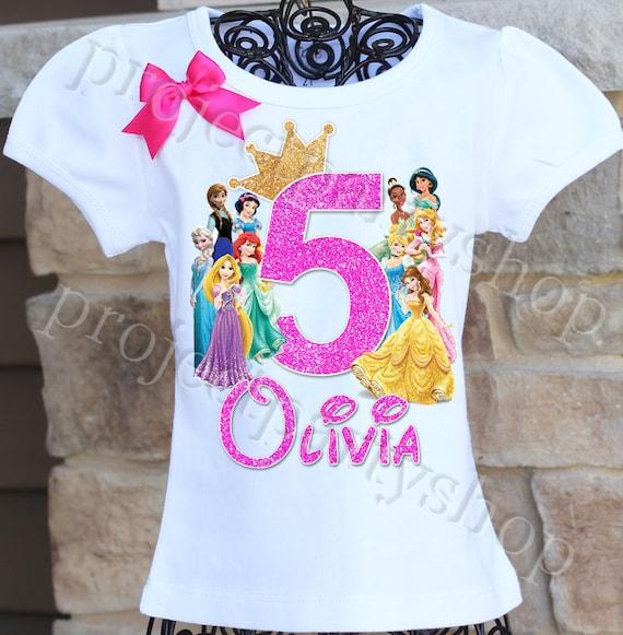 Disney Princesses Birthday Shirt Disney Princess Birthday Etsy