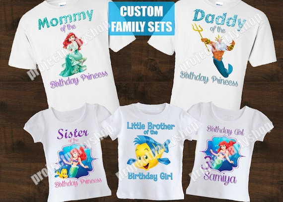 Little Mermaid Family Birthday Shirts Ariel