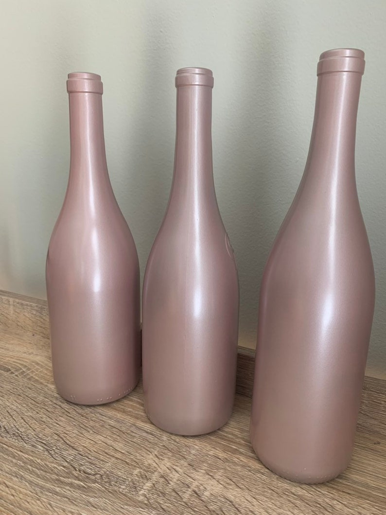 Remarkable Pearl Pink Wine Bottle Bridal Shower Centerpiece Baby Shower Decor Champagne Pink Metallic Wine Bottle Light Pink Vase Interior Design Ideas Tzicisoteloinfo
