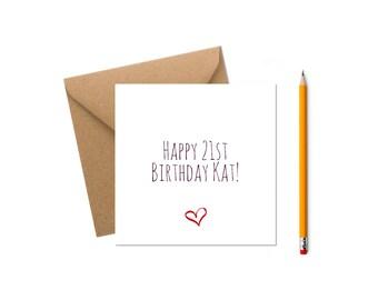Personalised 21st Birthday Card Happy Customised Greeting Custom Greetings