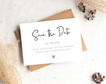 Save The Date Card, Personalised Wedding Invitation, Calligraphy, Modern, Minimalist, Elegant, Contemporary, Simple, Stylish, Eco Friendly