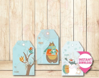 Forest Animal Holiday Tags-Instant Download-Forest Animal Tags, Holiday Tags, Christmas Tags, Gift Tags, Woodland Animal Tags, Tags, Cute