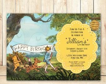 Classic Winnie the Pooh Birthday Invitation - Custom Digital Invitation- Pooh Party, Classic Pooh Invite, Classic Pooh, Winnie the Pooh