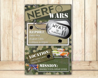 Nerf Wars Birthday Invitation - Custom Digital Invitation 4x6- Nerf Wars, Nerf Wars Birthday, Camo, Nerf Wars Party, Nerf Wars Invite, Nerf