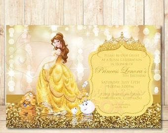 Golden Princess Birthday Invitation Digital