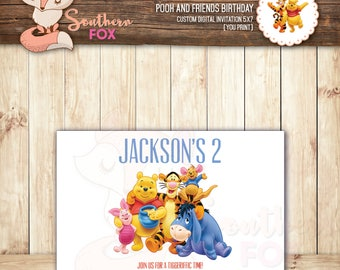 Winnie the Pooh and Friends Birthday Invitation - Custom Digital Invitation-Pooh Birthday, Pooh Invitation, Pooh Party, Pooh and Friends