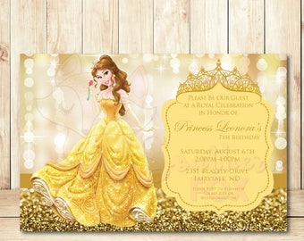 Beauty And The Beast Disney Princess Belle Birthday Invitation