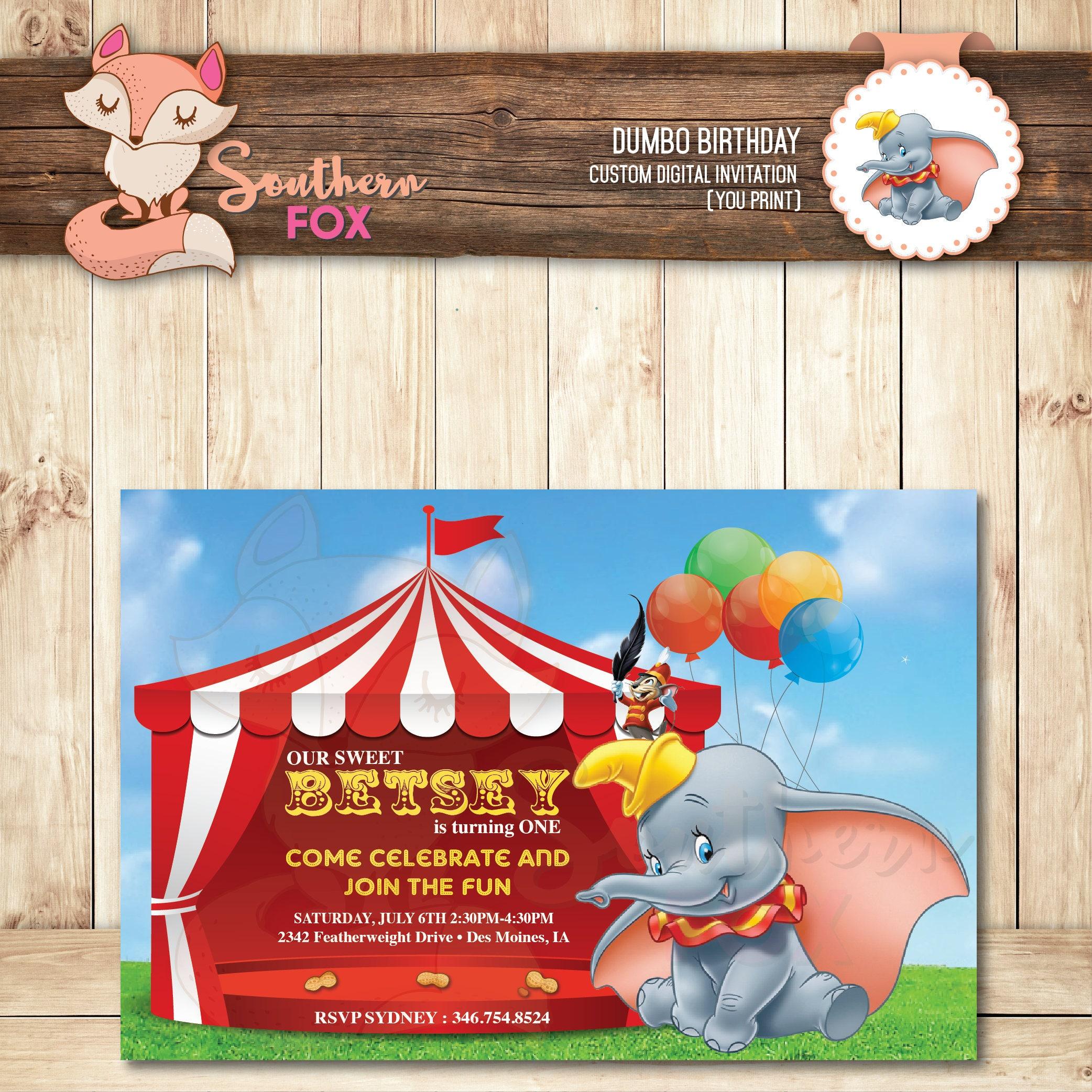 Dumbo Birthday Invitation Digital Birthday Invitation-Dumbo | Etsy