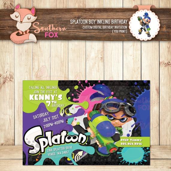 splatoon birthday invitation boy inkling custom digital etsy