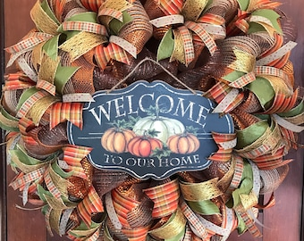 Fall Wreath, Autumn Wreath, Welcome To Our Home, Fall, Autumn, Welcome Wreath