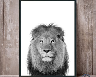 Lion print, Lion wall art, Nursery decor, Lion art, Nursery wall art, Lion poster, Animal print, Black and white, Safari decor, Lion photo