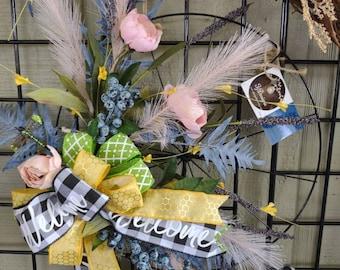 Welcome peony bicycle wreath