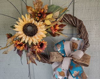 Fall sunflower grapevine wreath