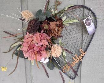 Fall heart thankful wreath