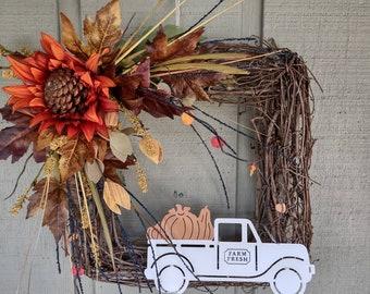 Farmhouse truck sunflower grapevine wreath