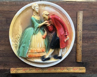Vintage Chalkware/ Plaster Medallion/Plate
