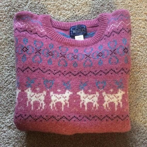 RARE! 80s Woolrich cottagecore rose pink deer prin
