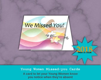 Missed you cards for LDS Young Women 2018: Peace in Christ, Peace in Me
