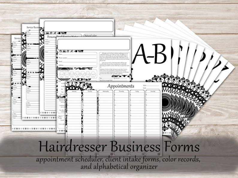 Hair Stylist Printable Business Forms: Hairstylist Client intake forms,  Appointment book, Client Hair Color Profile and History