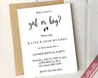 Gender Reveal Party Invitation Girl or Boy Printable 5x7 Card / Instant Download / Gender Reveal Invite Simple DIY