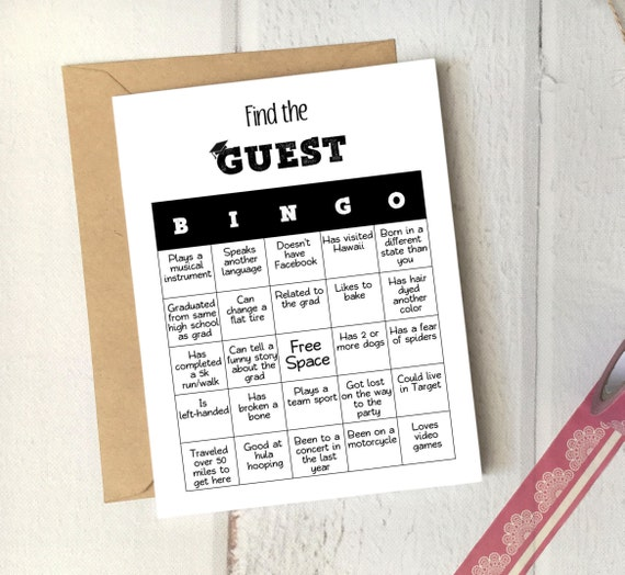 Graduation Party Game Find The Guest Bingo Etsy