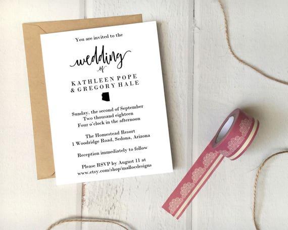 Wedding Invitations Az: Arizona Wedding Invitation Printable Template 5x7 Card