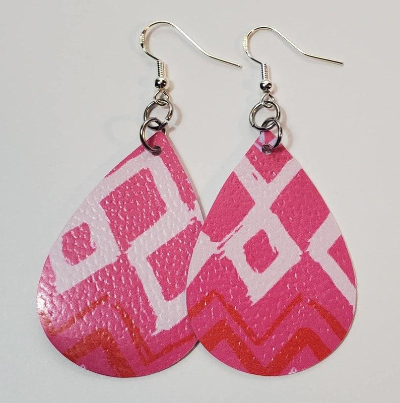 Pretty in Pink Faux Leather Teardrop Earrings