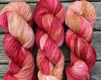 "hand dyed sock yarn ""caramel apple"""