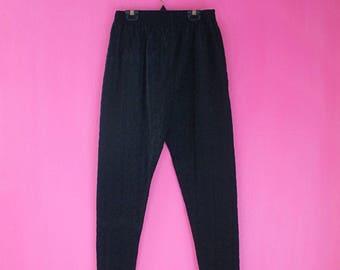 Vintage Black Floral Embroidered Elastic Waist Cigarette Pants
