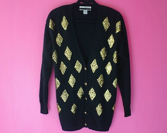 80s Gold Sequin Diamonds Angora Cardigan