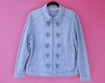 Vintage 80s/90s Chambray Rhinestone Hearts Zipper Jacket