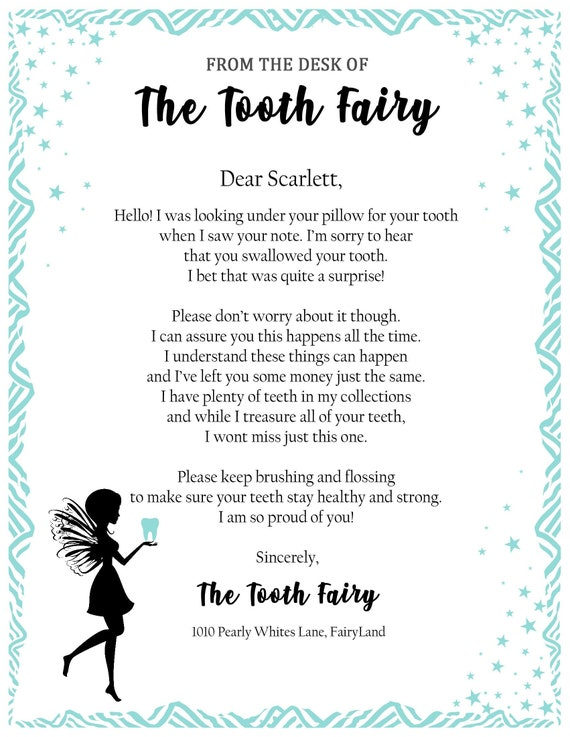 photo about Tooth Fairy Letter Printable identify Teeth Fairy Letter- * Baby swallowed teeth Letter against Enamel Fairy* Tailor made PRINTABLE PDF