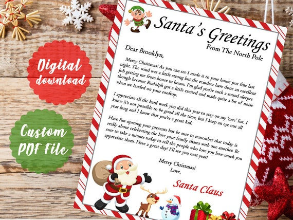 picture about Santa Christmas List Printable identified as Santa Xmas Early morning Letter* Printable PDF -Electronic Printout- Santa Letter*