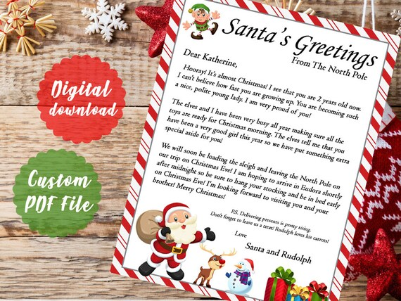 Merry Christmas Letter T.Personalized Santa Letter Christmas Letter From Santa Printable Download Customizable