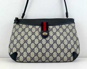 5332ea3d210 GUCCI Crossbody Bag in Classic Blue GG Monogram Canvas with Red Stripe