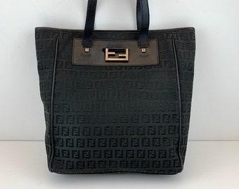 456e8c3c31 FENDI Zucca Print Black Monogram Canvas Tote Shoulder Bag